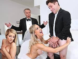 Bride Brandi Love in bridal veil gets her pussy fucked by her daughter's boyfriend