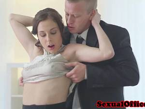 Sensual secretary makes sure her boss cums