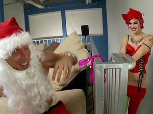 Sexy Christmas elf tied up and fucked by Santa