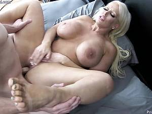 My lonely stepmother thought that I was sleeping and touching my cock