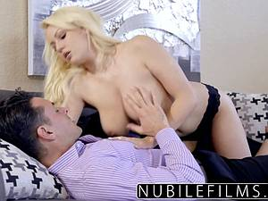 Natural blonde beauty Kylie page easily seducing a guy to fuck her