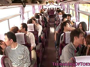 Hot Asian teen on a bus getting her beaver romped