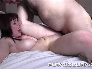 Redhead MILF with big tits rubs herself and sucks dick